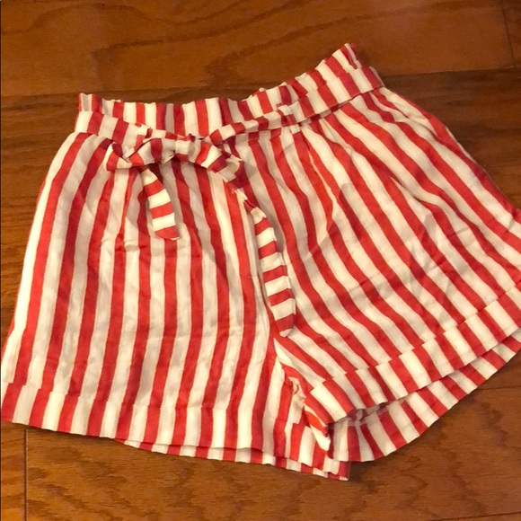 mini Aspirare Visa  H&M Shorts | Women Striped Redwhite 10 Tie Waist | Poshmark